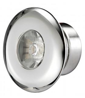 Luce di cortesia LED da incasso in acciaio inox, lente in policarbonato